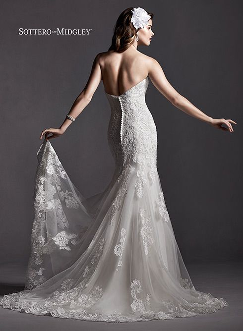Romantic lace slim A-line wedding dress with sweetheart neckline, Marlow by Sottero and Midgley.