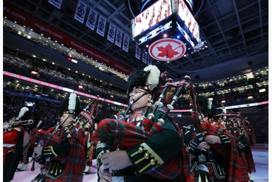 The 48th Highlanders took part in the pregame ceremonies at Maple Leafs home opener on Monday...2013