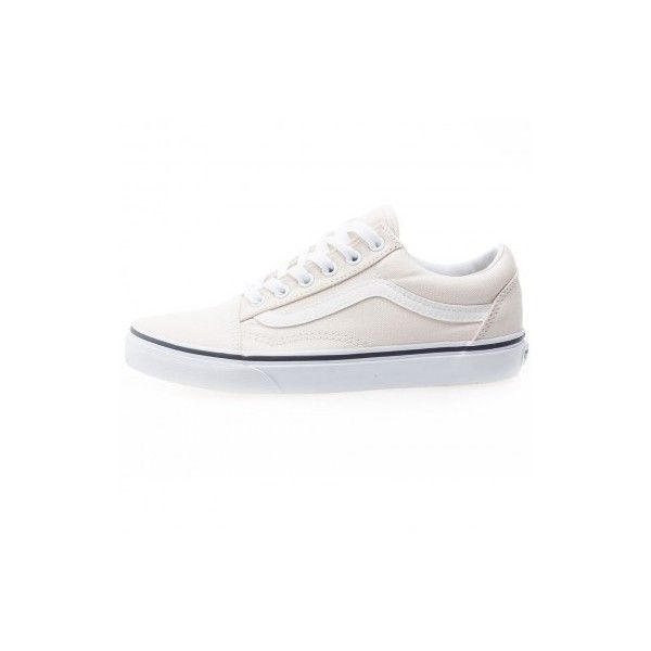 Vans Old Skool Womens Trainers in Cream ❤ liked on Polyvore featuring shoes, sneakers, vans sneakers, cream shoes, vans footwear, vans shoes and vans trainers