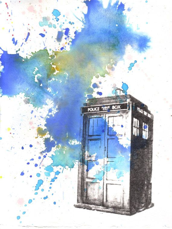 Doctor Who Tardis Watercolor Painting  13 x 19 in by idillard, $35.00