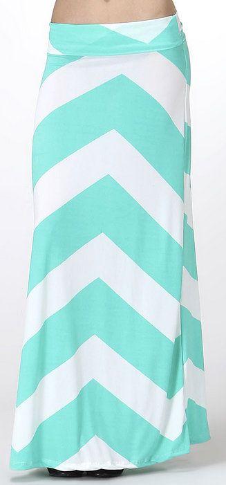 Blue & White Bold Zigzag Maxi Skirt