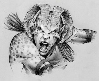 The Ferai from the Primal game looks like they could be related to the Qunari
