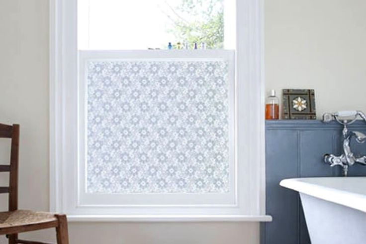 Window Film: You can be as plain or as decorative as you want to be with static cling or adhesive film for privacy and decoration. Basics are available at Lowe's and Amazon, and more decorative versions can be found at the Scandinavian Design Center and Emma Jeffs.