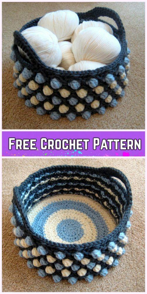 Crochet Bobble Basket Free Patterns Honeycomb Pop Basket Free Crochet Pattern