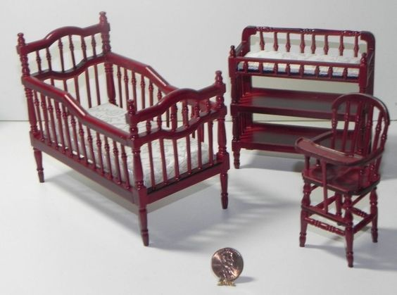 Baby Bedroom Furniture Crib Bed Chair Cabinet 1:12 Dollhouse Miniatures 3pc Set