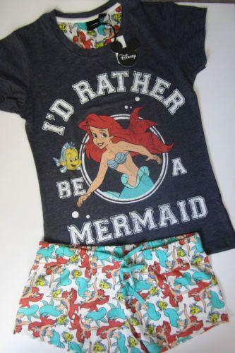 Primark Ladies Disney Ariel The Little Mermaid Shorts & T Shirt Pyjama Set CUTE! | eBay