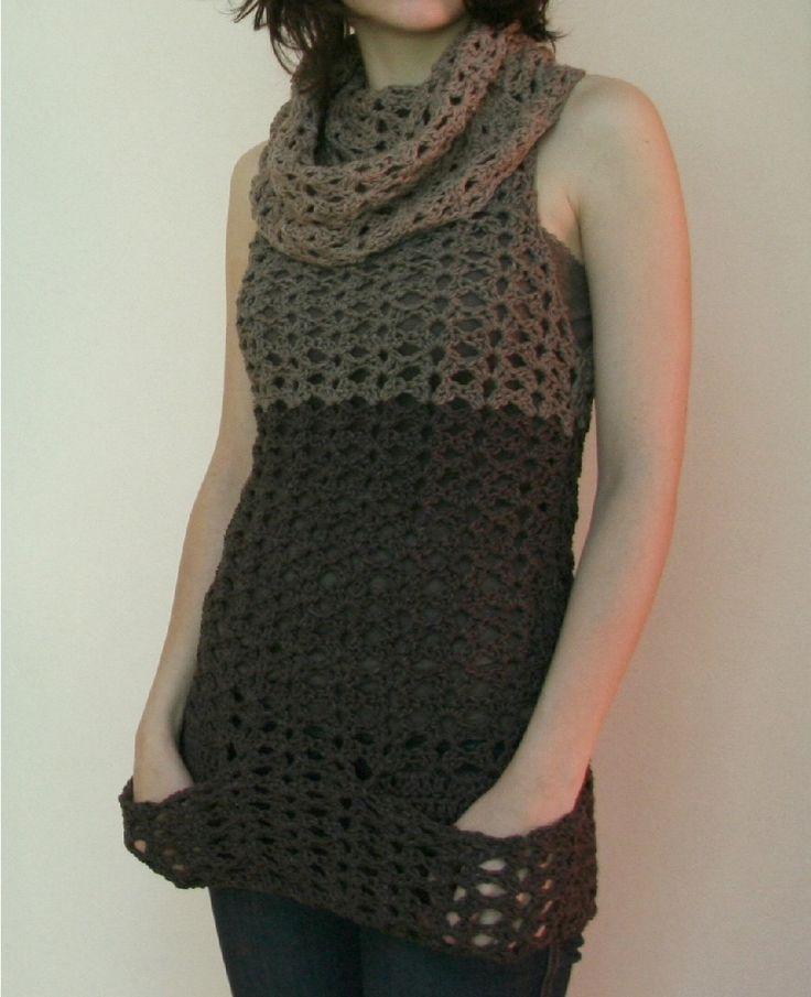 Sahara Tunic - Crochet pattern PDF file - sleeveless tunic with pockets and cowl - SALE. $6.00, via Etsy.