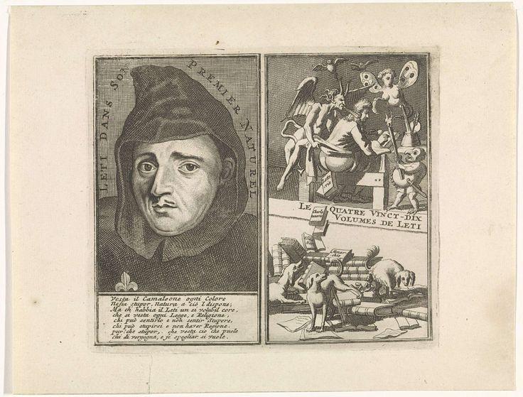 anoniem | Portret van Gregorio Leti, possibly Bernard Picart, 1697 | Portret van de Italiaanse historicus Gregorio Leti. Hij draagt een habijt. Onder zijn portret een achtregelig onderschrift in het Italiaans. Rechts een schrijver die door duivels wordt aangevallen. Daaronder honden die plassen en poepen op boeken. Daartussen de titel in het Frans.