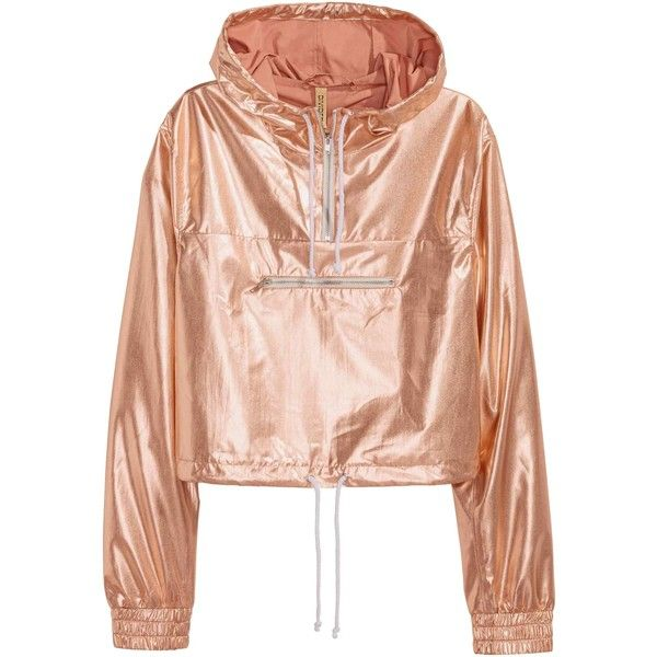 Shimmering metallic anorak ($19) ❤ liked on Polyvore featuring outerwear, jackets, tops, woven jacket, anorak jacket, anorak coat, drawstring jacket and zipper jacket