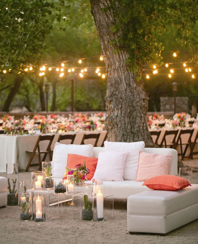 Coral and Neutral Wedding Reception with Bistro Lighting | Mel & Co.