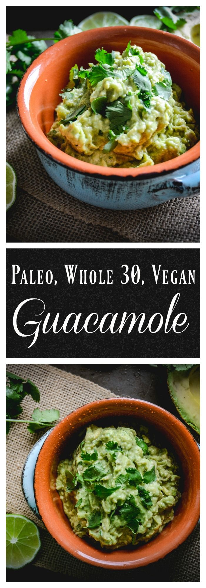 A 5 ingredient guacamole that takes 5 minutes to make. Simple, delicious, vegan, paleo and whole 30 approved. Perfect for a party or anytime. #guacamole, #whole30, #vegan, #paleo, #avocado
