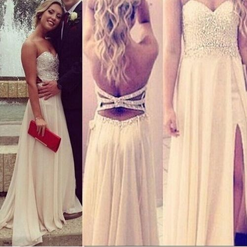 Beige Beading Long Prom Dresses, Criss Cross Straps Evening Dresses, Off The Shoulder A Line Celebrity Dresses 2015, Women Summer Dresses With Split Side