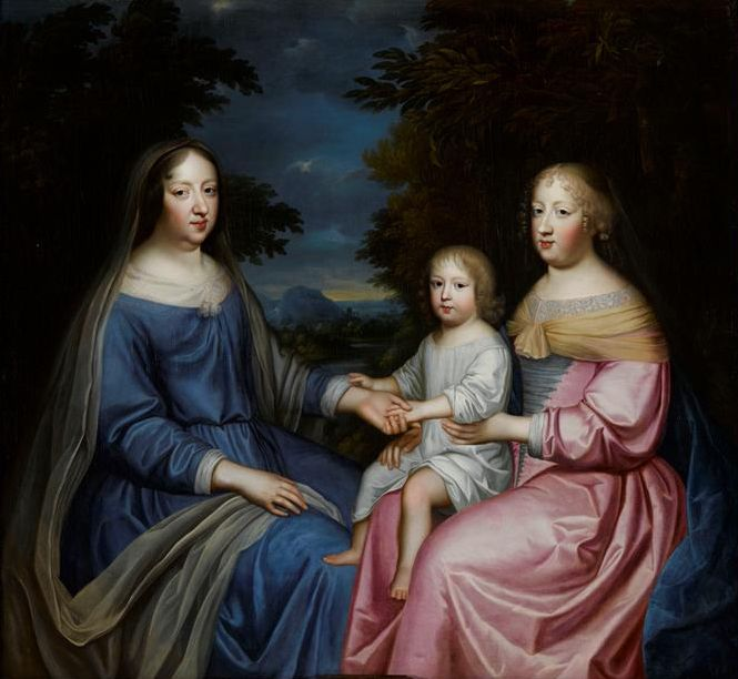 Anne of Austria, Queen-Mother of France, the Dauphin and Maria Theresa, Queen of France, 1665 by Charles Beaubrun (Sotheby's).  Anne was Maria Theresa's aunt as well as her mother-in-law, and the Dauphin's grandmother and great aunt.