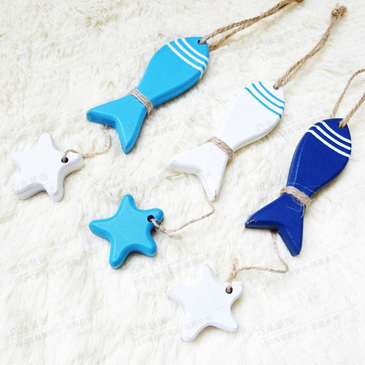 Eastern Mediterranean decorative fish, wooden pendant,simple modern pastoral sea star fish ornament, stylish wooden crafts 3pcs