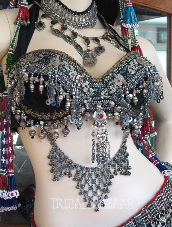 Look closely at the jewelry added to this dangly bra for bellydancing.   I can do this.