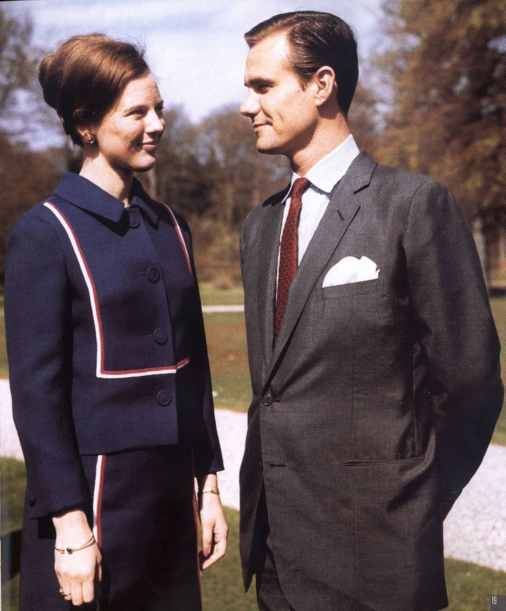 Princess Margrethe of Denmark and her fiancé French Count Henri de Laborde de Monpezat at Fredensborg Palace beginning of 1967