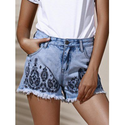 Floral Embroidered Frayed High Waist Denim Shorts