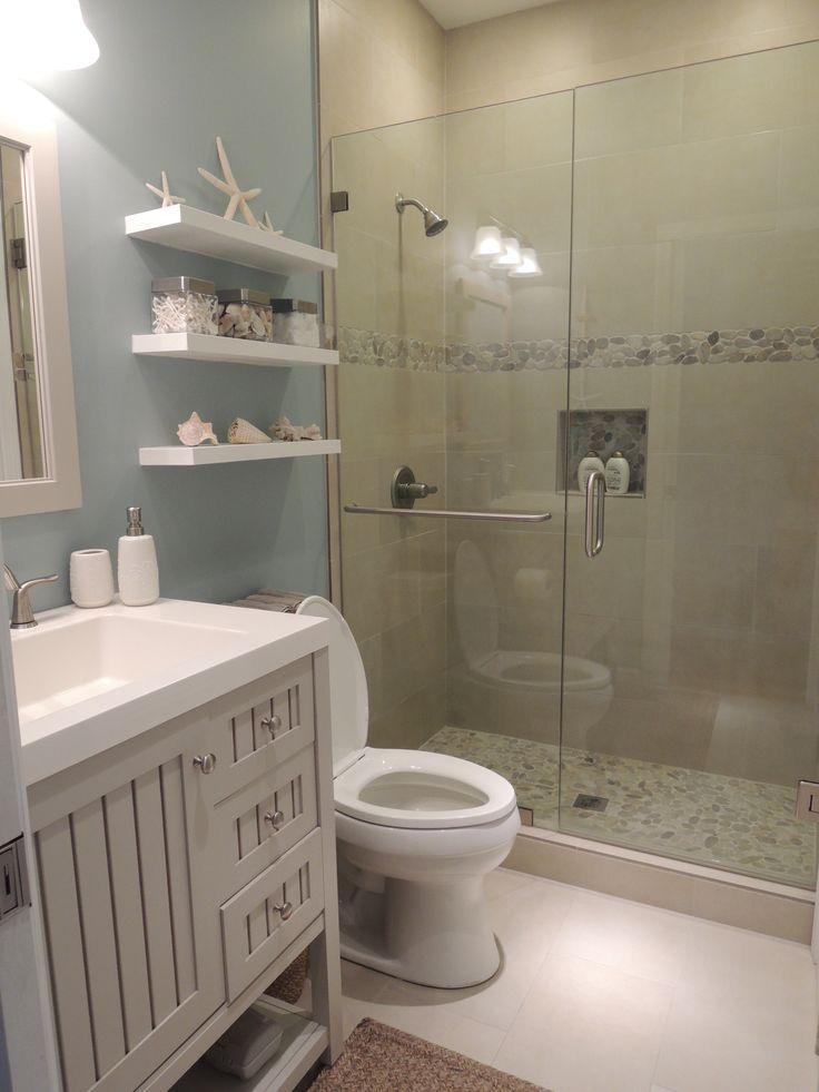 Beach Theme Bathroom Stone Shower Floating Shelves Sdecor Our Hawaiian Home Pinterest Beach Theme Bathroom Stone Shower And S
