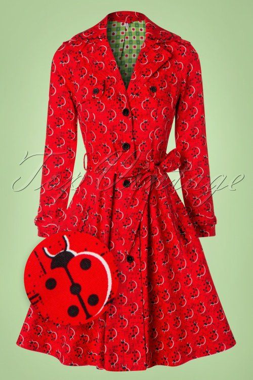 Blutsgeschwister ~ 50s Glienicke Spy Swap Trenchcoat in Lovely Ladybug Red