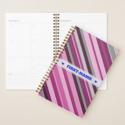 Custom Name  Pink/Purple/Grey Stripes Planner - pattern sample design template diy cyo customize