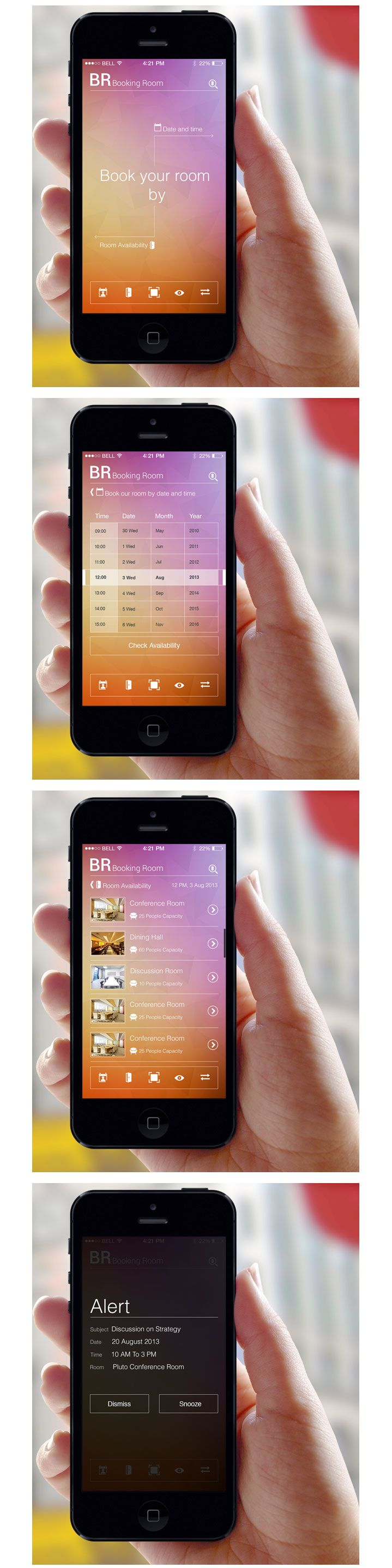 Booking Room / b hotel motel hospitality scheduling mobile app design