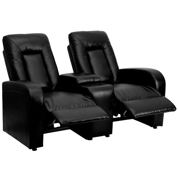 Flash Furniture Eclipse Series 2-Seat Reclining Black Leather Theater Seating Unit with Cup Holders (Black)
