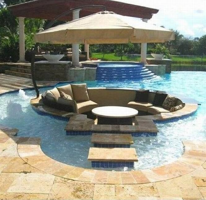 Mediterranean Swimming Pool with Sunbrella contrast outdoor pillow, Treasure garden cantilever tilt offset umbrella