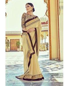 Beige Satin Silk Partywear Saree