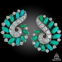 VAN CLEEF & ARPELS Diamond and Turquoise Ear Clips