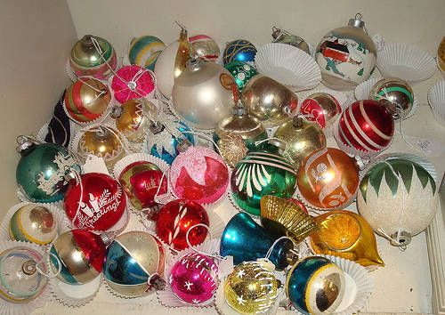Lucky to have hundreds of these old glass Christmas Ornaments from my childhood. I buy up all I find at yard sales