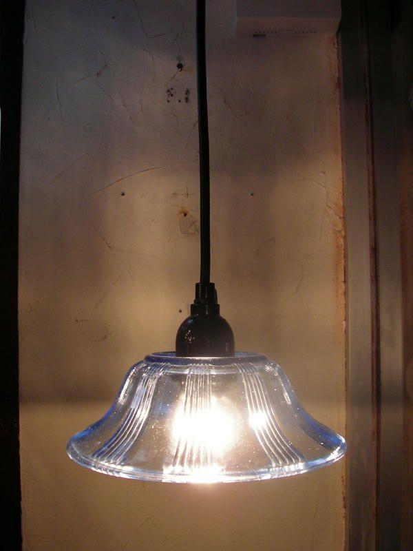 昭和初期の気泡ガラスの器のランプシェード・水色