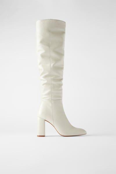 ZARA Female High leg leather heeled boots Ecru 7½