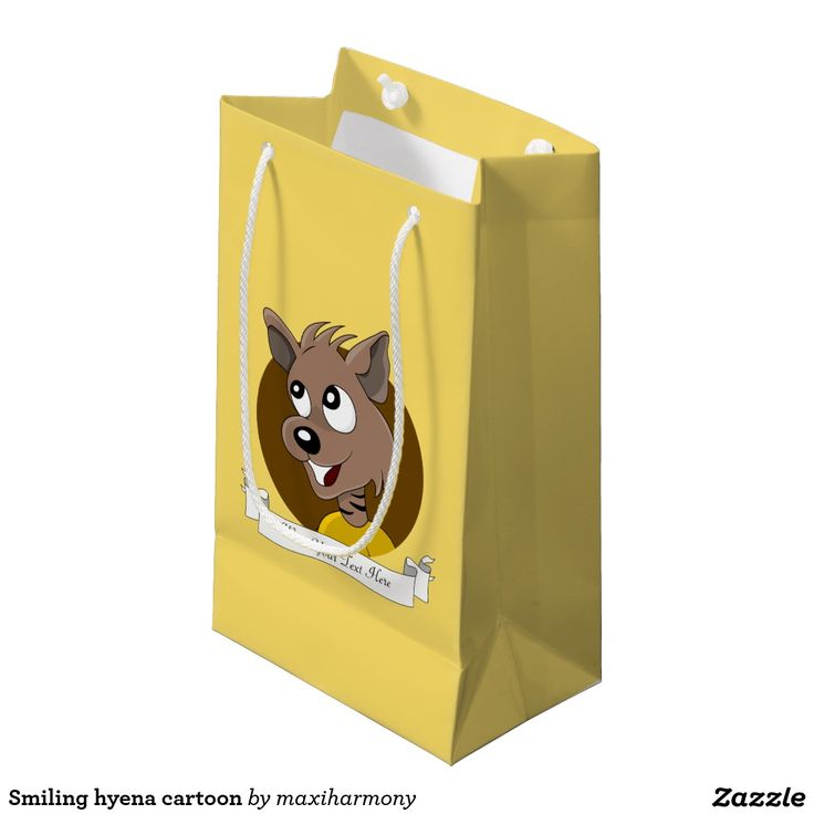 Smiling hyena cartoon small gift bag