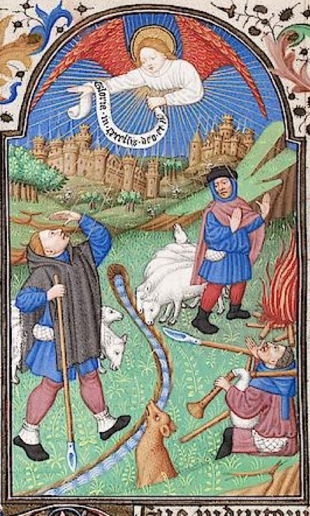 You know that the night was a cold one. The shepherds have built a bonfire.  http://digi.ub.uni-heidelberg.de/diglit/salIXe/0178/image?sid=9def84cd405feda15bd194a11bff2dcd
