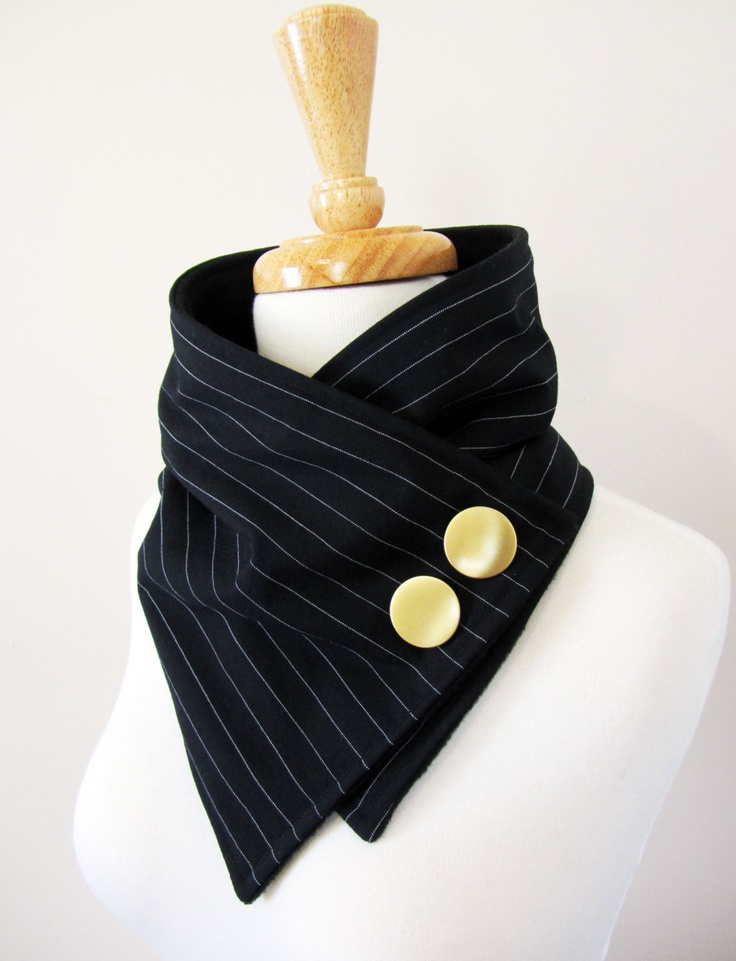 Black and White Pinstripe Upcycled Neck Warmer with Gold Buttons. $36.00, via Etsy.