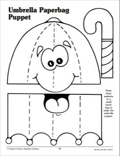 Umbrella paper bag puppet pattern school pinterest for Paper plate puppets templates