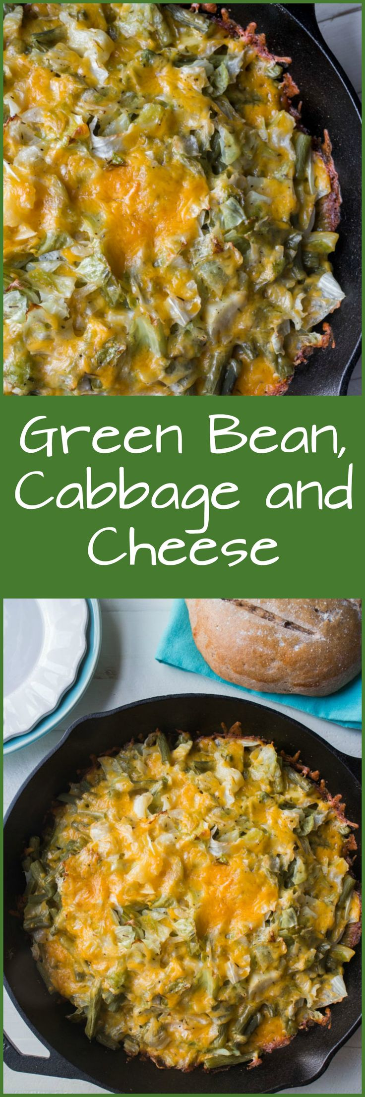 This Green Bean, Cabbage and Cheese casserole is just like Macaroni and Cheese but without the pasta!  It makes a great side dish for Thanksgiving and Christmas dinner! It's a savory, comforting, cheesy dish that uses fresh vegetables.