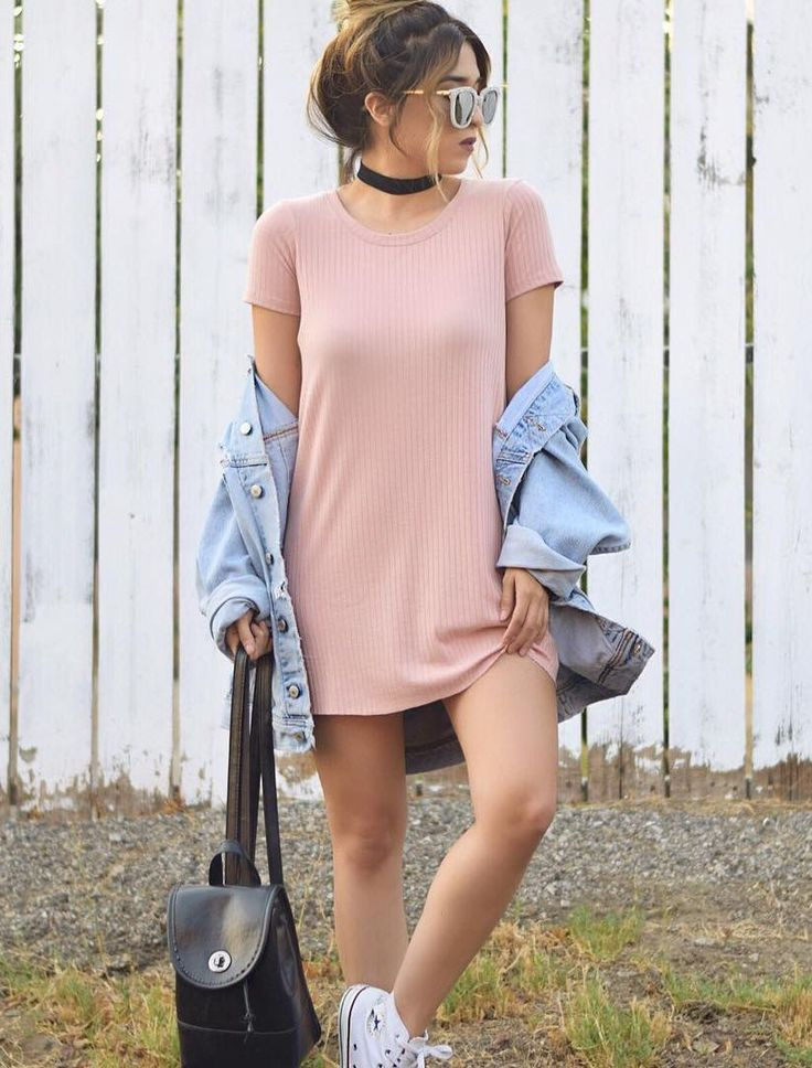 Ribbed Knit T-Shirt Dress