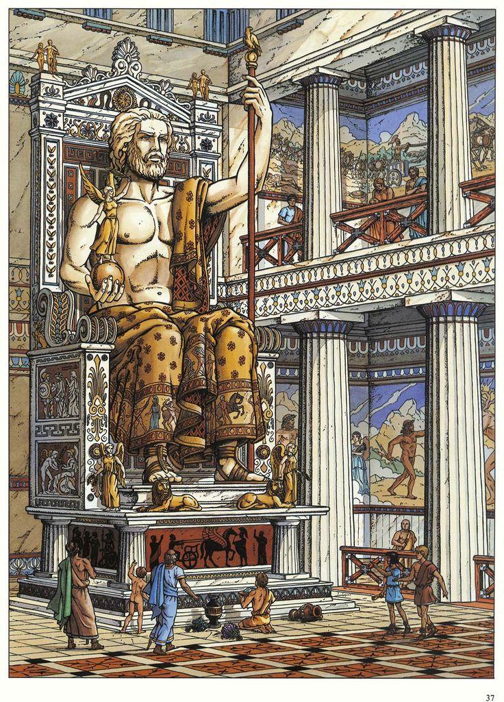 La célèbre statue, représentée par Jacques Martin dans Les Voyages d'Alix : la Grèce (2000)