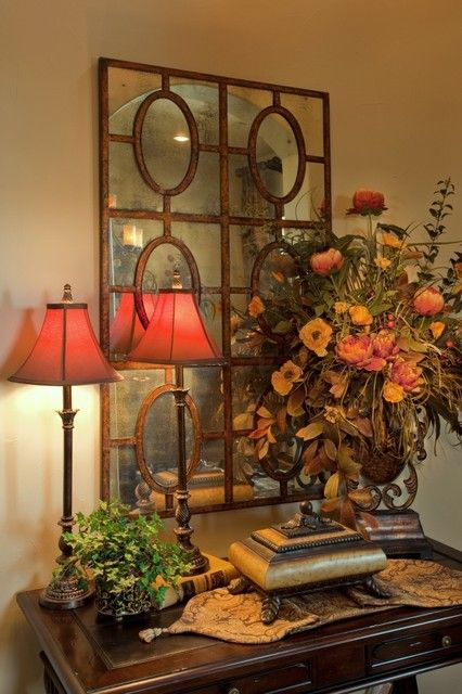 Tuscan Entry: Mirror, Decor Ideas, Entry Tables, Mediterranean Entry, Color, Design Ideas, Tuscan Entry, Tables Decor, Tuscan Style