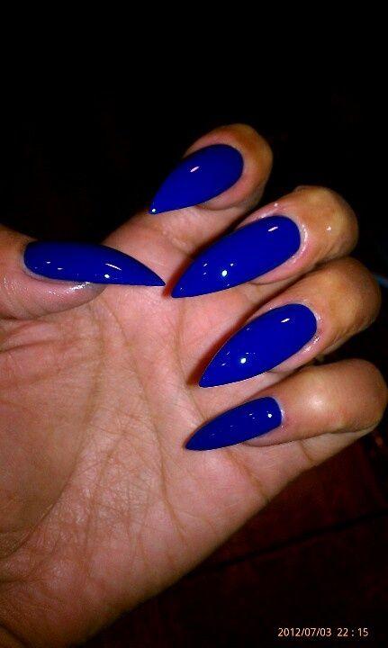blue stilleto nails | Royal blue stiletto nails
