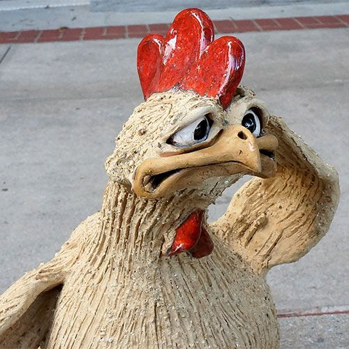 Christopher Park Gallery :: Pottery :: Mazi :: Mazi Character Chicken Sitting CP462 SOLD