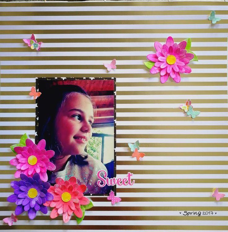 MY+SWEETY - Scrapbook.com #lawnfawn #doodlebugdesign #layout #doodlebugdesignlayout #lawnfawnlayout #paperflower