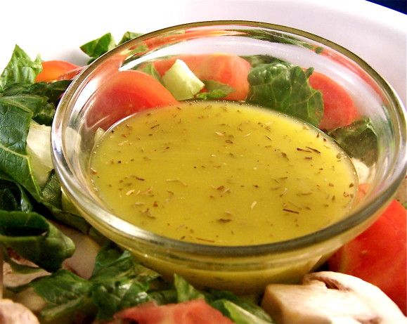This vibrant dressing requires extra-virgin olive oil, freshly squeezed lemon juice, and fresh oregano. Toss it with baby greens for a cooling side dish salad. Or, use torn romaine lettuce and add tomato chunks, chopped cucumber, crumbled feta cheese, and sliced olives to make the salad more substantial.  I got this recipe from a local news television channel.