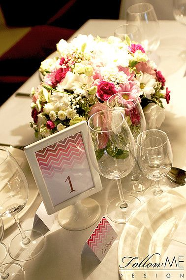 Dekoracje stołu / Winietki / Numery stołów / Różowe dekoracje ślubne od FollowMe DESIGN / Table Decorations / Wedding Place Card / Table Number / Pink Wedding Decorations & Details by FollowMe DESIGN