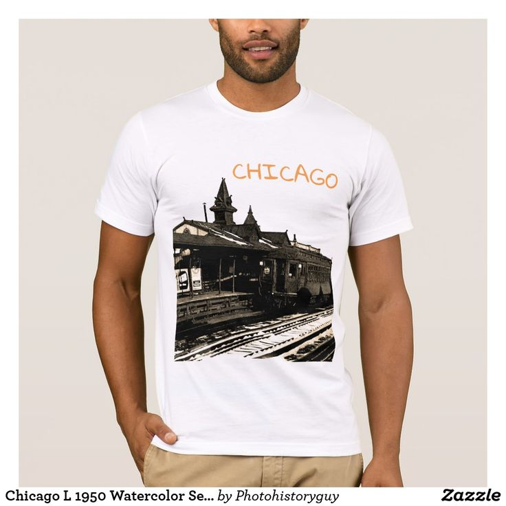Chicago L 1950 Watercolor Sepia Photograph Subway
