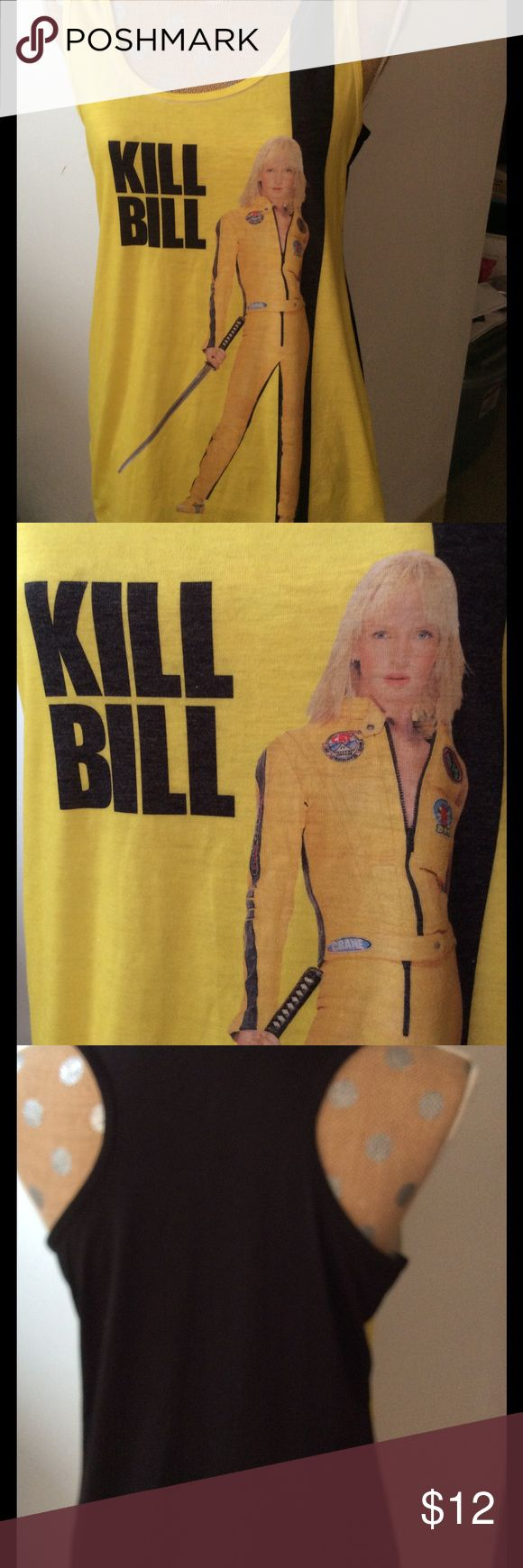 Kill Bill movie poster tank top Kill Bill movie poster tank top depicting Uma Thurman as Black Mamba. 88% polyester, 8% rayon, 4% spandex. Goodie two sleeves Tops Tank Tops