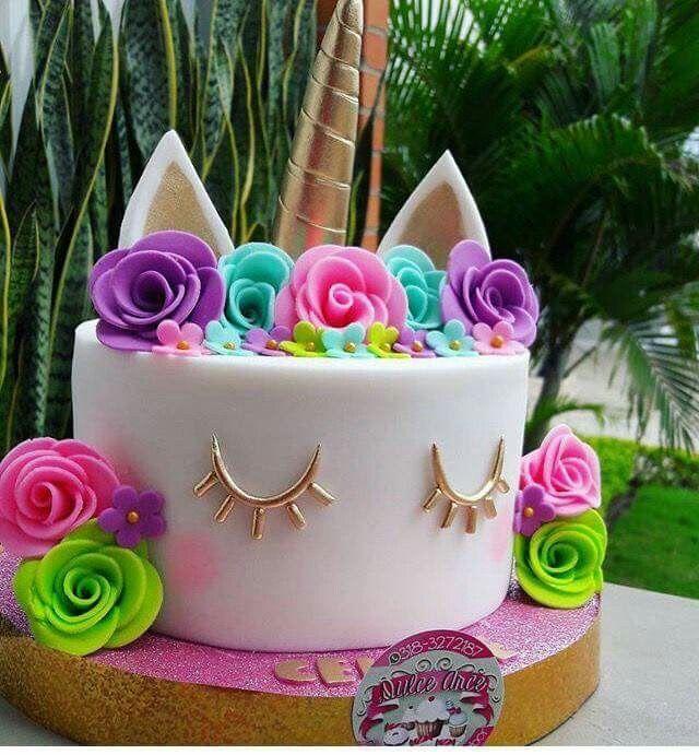 Bright unicorn cake