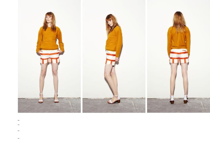 Double layered fluffy front quilted mustard sweater with orange-pink striped shorts.