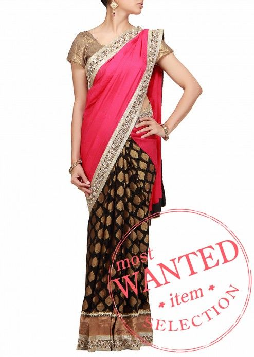 $85.00 A half half saree in pink Chiffon and black brocade with embroidered border by B91 Exclusive